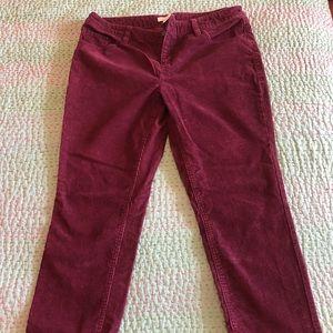 Garnet Hill Maroon Corduroy Pants size 12P